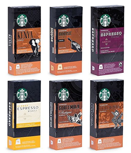 Starbucks Ultimate Variety Mix - 60 nespresso compatible capsules - 6 different blends (in total 6x10 pods) by Espresso Starbucks