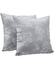 "Amazon Basics 2-Pack Textured Weave Decorative Throw Pillows - 18"" Square, Dark Grey Floral"