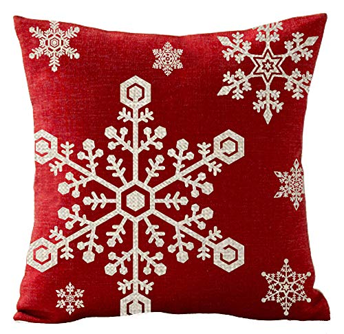 Merry Christmas Red Snowflake Happy Winter Gift Holiday Cotton Linen Pillowcase Throw Pillow Covers Cushion Cover Pillowcover Sofa Decorative Square 18x18 inch Decorative Pillow Wedding Birthday
