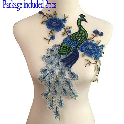 2pcs Peacock Flower Embroidered Lace Neckline Collar Warm Tones Floral Brown Leaf Applique Patches Scrapbooking Embossed Sewing (Blue A)