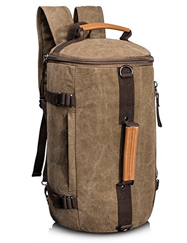 Leaper Large Capacity Multi-functional Canvas Backpack Laptop Rucksack Gym Bag (Coffee)