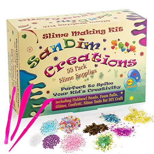 Slime Supplies Kit - Foam Beads for Slime - Slime Making Kit - 55 Pack Slime Add Ins - Includes Fishbowl Balls - Glitter - Craft DIY Set - Perfect to Spike Your Kids Creativity - by SanDim Creations