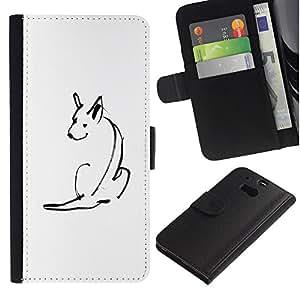 Billetera de Cuero Caso del tirón Titular de la tarjeta Carcasa Funda del zurriago para HTC One M8 / Business Style Minimalist Cute Dog Sketch Pet White