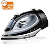 Aicok Steam Iron 1700W Professional Garment Steamer with Retractable Cord, Variable Temperature and Steam Control, Non-Stick Soleplate Full Function Press Iron, Black