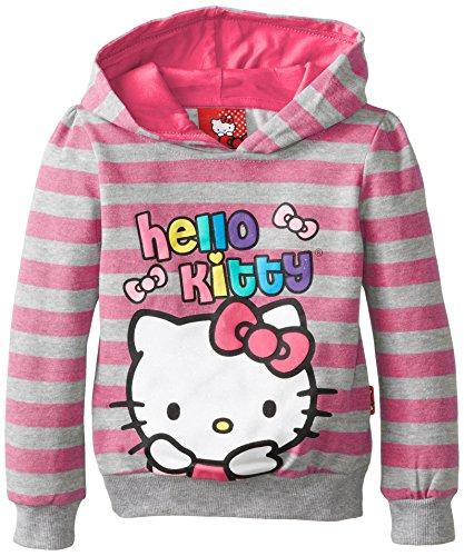 Hello Kitty Little Girls' Fleece Hood with Stripes, Fush Purp, 2T