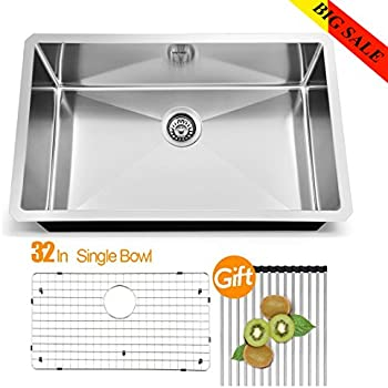 vapsint jzx005s modern commercial 32 inch drop in stainless steel single bowl undermount kitchen sinks vapsint jzx005s modern commercial 32 inch drop in stainless steel      rh   amazon com