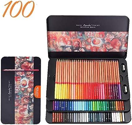 Berrd 24/36/48/72/100 Colores Juego de lápices lapices de Colores Profesionales crayones para Colorear Juego de lápices de Dibujo al por Mayor - Caja de Lata de 100 Colores: Amazon.es: Coche y moto