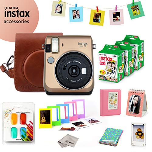 Fujifilm Instax Mini 70 Bundle (Gold) – Fuji Camera Instant Film (60 Sheets) + 9-in-1 Accessory Bundle – Carry Case, 4 Color Filters, 2 Photo Albums, Assorted Frames & Much More