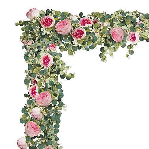 (HEJIAYI Faux Eucalyptus Garland with Flowers,Silk Eucalyptus Leaves Artificial Eucalyptus Garland Centerpiece,Eucalyptus Artificial Greenery Garland Wedding Arch,Home(Eucalyptus Garland Pink)