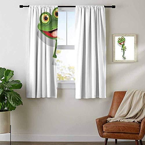Mozenou Cartoon, Window Treatments Curtains Valance, Jolly Frog with Greater Eye Lizard Gecko Smily Childish Funny Cartoon Artwork, Curtains Kitchen Valance, W54 x L39 Inch Fern Green White