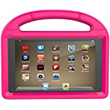 Huaup Shock Proof Case for Fire HD 8 2017/Fire HD 8 2016, Shockproof Convertible Stand Light Weight Protective Handle Kids Case for Fire HD 8 (Fire HD 8 2017/2016, Pink)