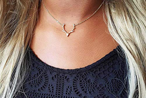 - Antlers Country Girl Boho Bohemian Good Luck Necklace Minimalist Layering Simple Necklace