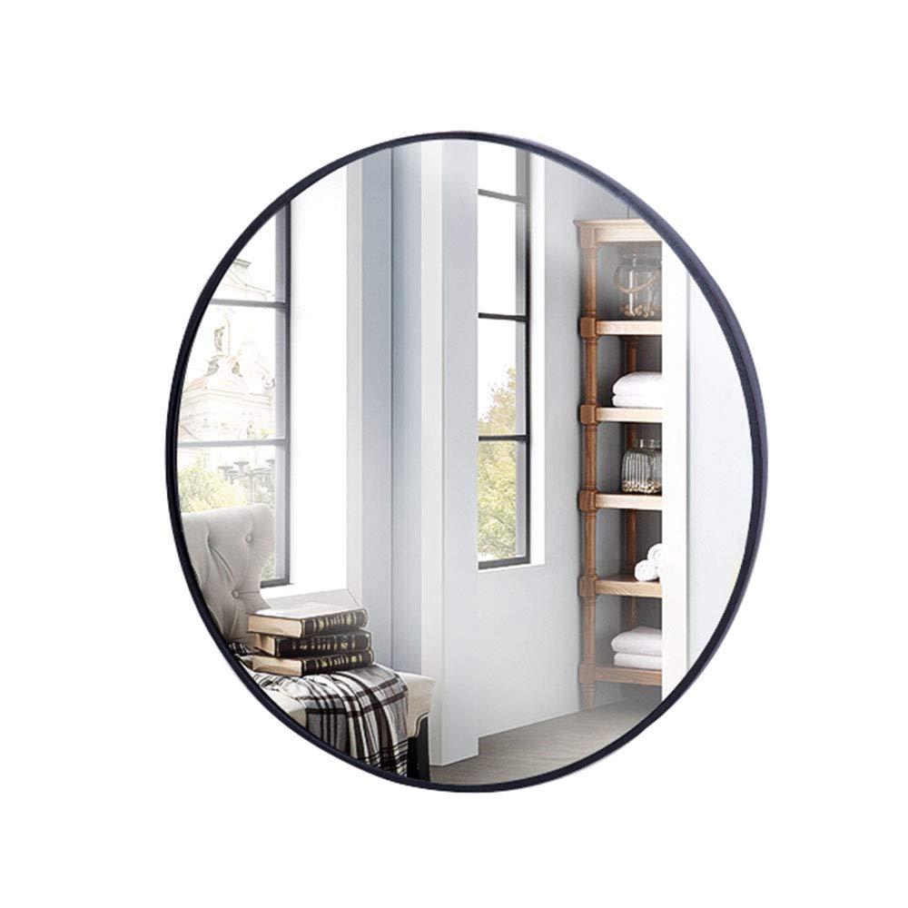 Black 50cm(19.7inches) Bathroom Wall Hanging Round Mirror -50cm Bedroom Vanity Mirror, Aluminum Alloy Frame, European high-Definition Explosion-Proof