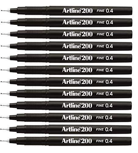 Artline Black Fineliner Pens, Fine point Tip 0.4mm Line Black Pen Ref A2001 [Pack of 12] ()