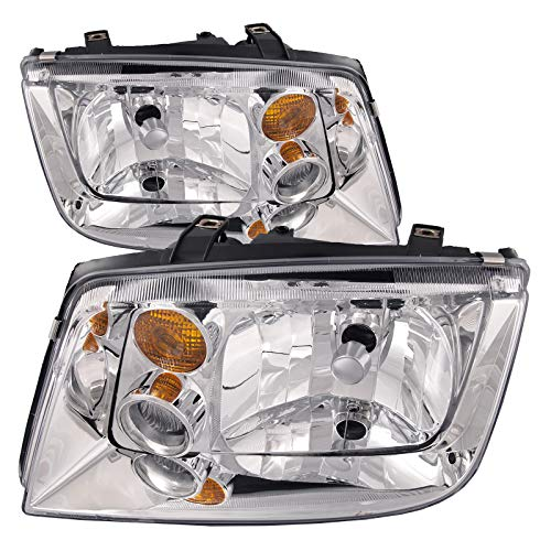 HEADLIGHTSDEPOT Chrome Housing Halogen Headlight Compatible with Volkswagen Jetta 2002-2005 Includes Left Driver and Right Passenger Side Headlamps
