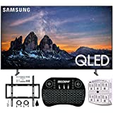 "Samsung QN65Q80RA 65"" Q80 QLED Smart 4K UHD TV (2019 Model) - (Renewed) w/Flat Wall Mount Kit Bundle for 45-90 TVs + 2.4GHz Wireless Backlit Keyboard Smart Remote + 6-Outlet Surge Adapter"