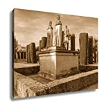 Ashley Canvas Stone Statues Of Christopher Columbus And Catholic Monarchs Queen Isabella I Of, Wall Art Home Decor, Ready to Hang, Sepia, 16x20, AG6376090