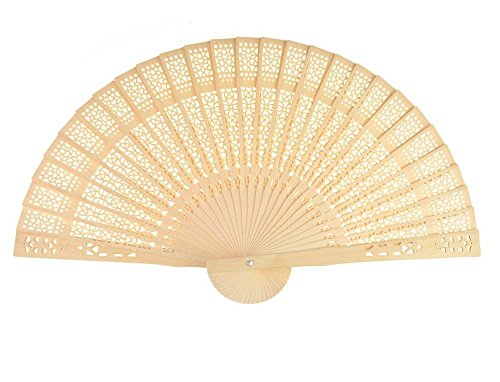 Peicees 48pcs Sandalwood The Hollow Out Printing Craft Fan for Wedding Favors & (Sandalwood Fan)