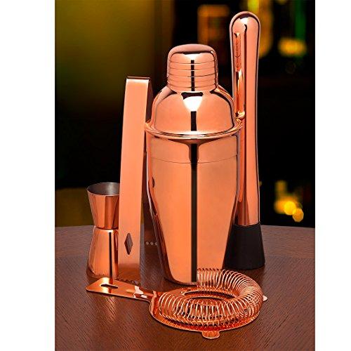 Godinger 12 Oz. Cocktail Shaker Set Copper Cocktail Mixer, Jigger, Strainer, Bartending Supplies Bar Tools Barware and Bartender Gifts Set-Professional Bar Kit (Fancy Cocktail Shaker)