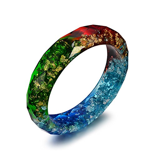 Acrylic Colored Rainbow Resin Bracelets - Nature Inspired Jewelry Plastic Lucite Bangle Bracelets for Women (Plastic Jewelry Bracelet Bangle)