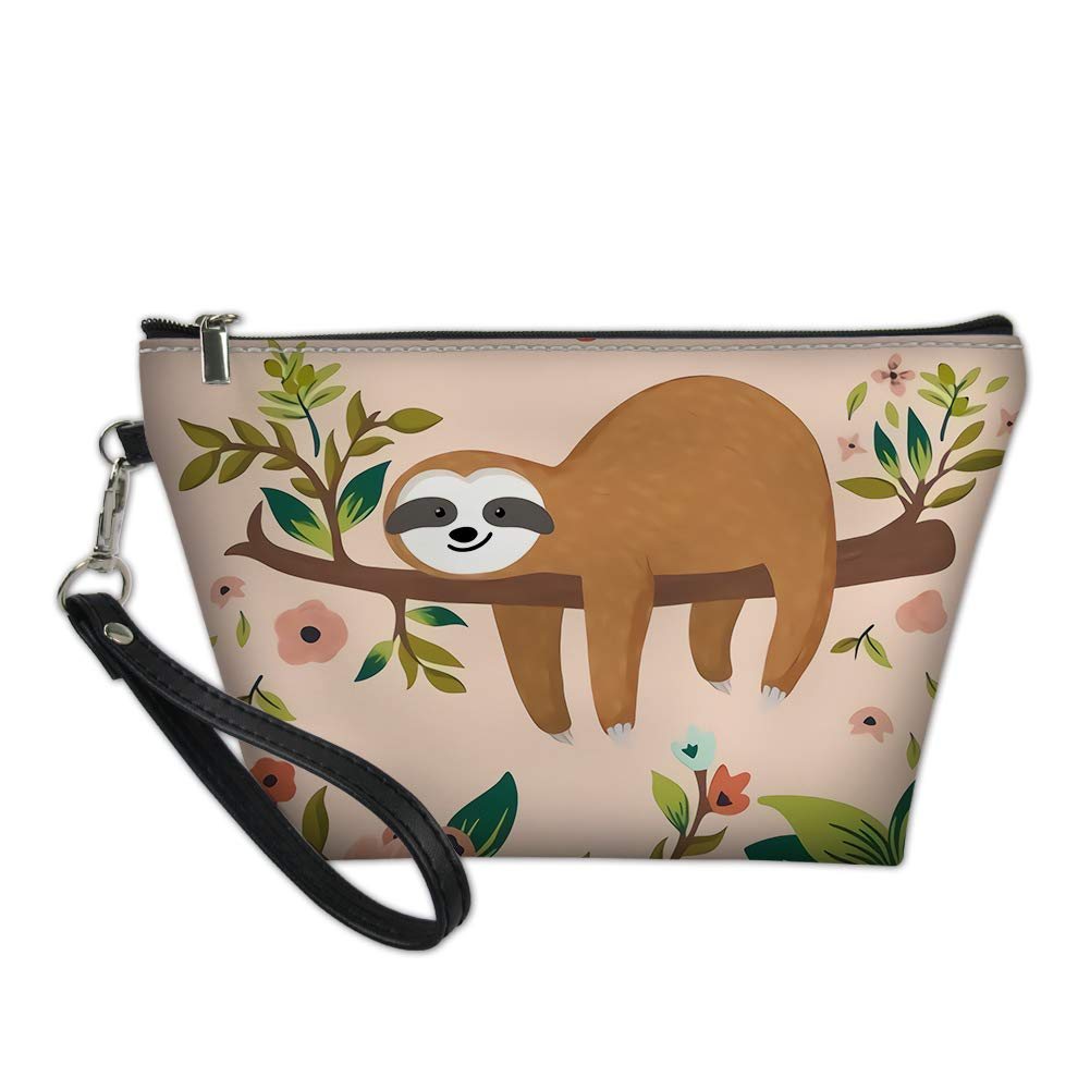 doginthehole Multifunction Pouch Case Cosmetic Organizer Bag Sloth Animal Print Travel Toiletry Carrying Purse