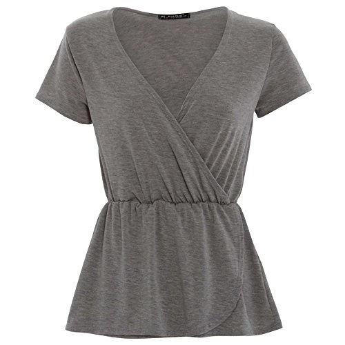 Oops Outlet Women's Plain Cap Sleeve Cross Wrap Over Front Blouse Tops Plus Size (US 16/18) Grey