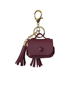 Compatible with Airpods Pro Charging Case Cover with Keychain for Women Girls, FunDiscount Cute Tassel Fringe PU Leather Protective Cover Accessories Compatible with Apple Airpods Pro/3rd (Wine)