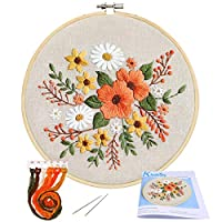 Full Range of Embroidery Starter Kit with Pattern, Kissbuty Stamped Embroidery Kit Including Embroidery Cloth with Pattern, Bamboo Embroidery Hoop, Color Threads Needle Kit