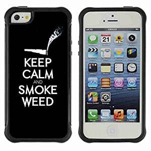 A-type Arte & diseño Anti-Slip Shockproof TPU Fundas Cover Cubre Case para Apple iPhone 5 / 5S ( Funny Keel Calm & Smoke Weed 420 )