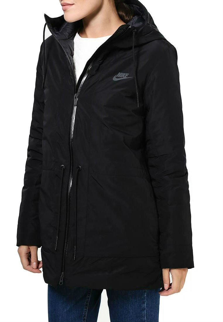 Nike Women's NSW Down Fill Parka Jacket w/Hoodie 805080-010 (Large) Black/Anthracite