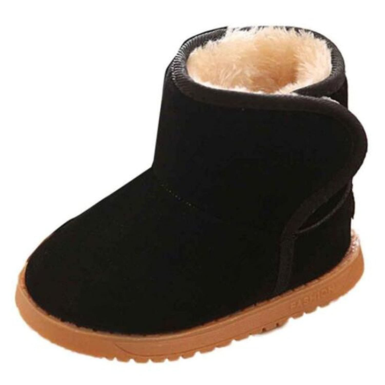 ESTAMICO Toddler Boys Girls Suede Winter Snow Boots Baby Hard Sole
