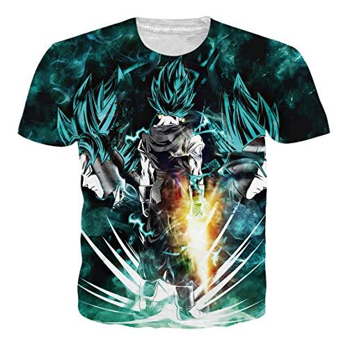Anime Girl T-shirts - Ocsoc 3D Printing Dark Green Goku T Shirt for Adult Boys Girls Vegetto Printed T Shirts Anime Graphic Shirts XL