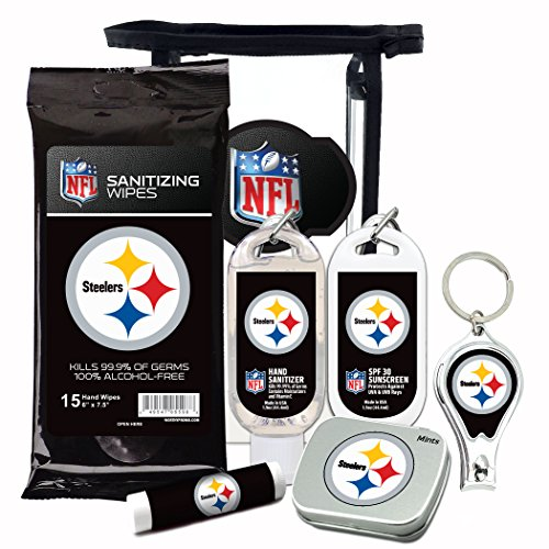 Pittsburgh Steelers 6-Piece Fan Kit with Decorative Mint Tin, Nail Clippers, Hand Sanitizer, SPF 15 Lip Balm, SPF 30 Sunscreen, Sanitizer Wipes. NFL Football Gifts for Men and Women
