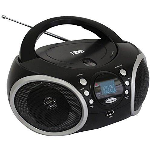 NAXA Electronics NPB-276 Portable Boombox, MP3/CD Player with AM/FM Analog Radio & USB Input