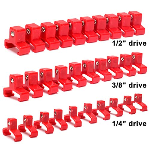 CASOMAN 30-Piece Socket Clip Set, 1/2-inch, 3/8-inch,1/4-inch Red Spring Loaded Ball Bearing Socket Clips,Additional Clips for use with CASOMAN Socket Organizers ()