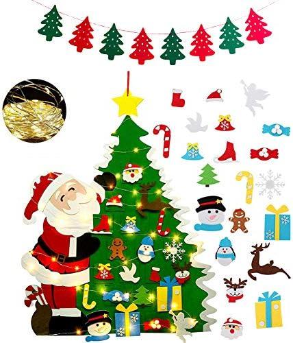 Albero Natale Feltro per Bambini, Albero di Natale con 21 PCS Ornamenti Staccabili Regali di Natale di Capodanno per Bambini Decorazioni per Appendere + 1 Banner di Natale+1 PCS Luci Stringa