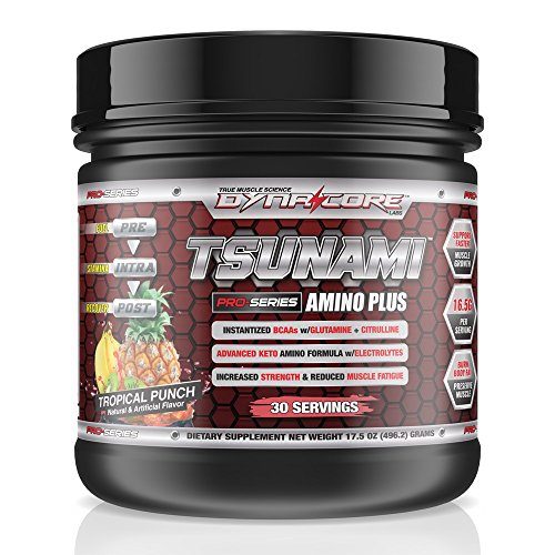 Advanced Performance Supplements (Dyna-Core Labs Tsunami Pro Performance-Enhancing Ketogenic BCAA Amino Powder * With Advanced Eaa's * Glutamine * Electrolytes * Citrulline * MCT 's * With Scoopie (Tropical Punch))