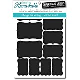 Reusable Chalk Labels - 22 Fancy Rectangle Shape Adhesive Chalkboard Stickers in 3 Sizes, Dishwasher Safe, Decorating, Crafts