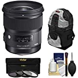 Sigma 24mm f/1.4 ART DG HSM Lens with 3 UV/CPL/ND8 Filters + Backpack Kit for Sony Alpha E-Mount Cameras