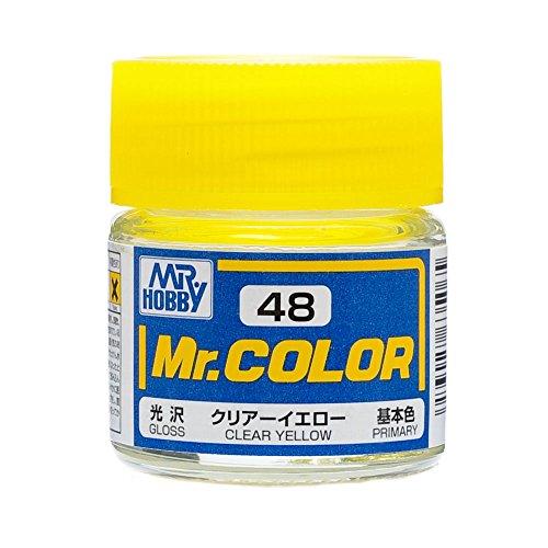 Yellow Gundam Paint - Gundam Mr. Color 48 - Clear Yellow (Gloss / Primary) Paint 10ml. Bottle Hobby
