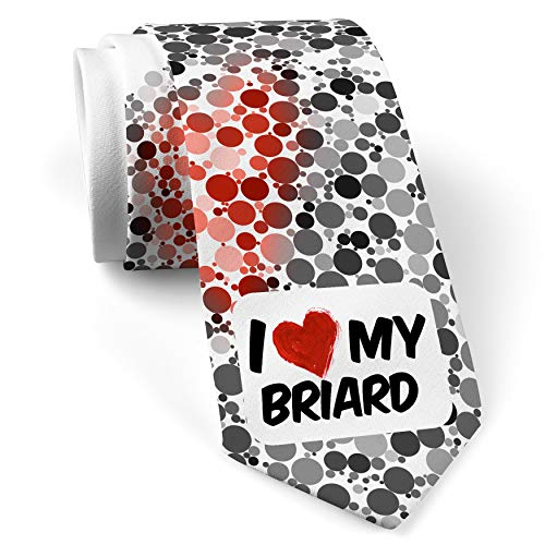 - Neck Tie with I Love my Briard Dog from France White with Color Print