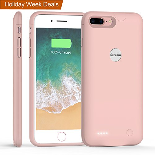 iPhone 8 Plus / 7 Plus Battery Case, Szresm Ultra Slim Portable Charging Case for iPhone 7 Plus(5.5 inch) with 3600mAh Capacity/External Juice Pack Charger Case