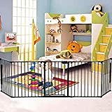 Homestock Safety Mental Baby Gate/Fence 5 Panels Fireplace Fence Dog cat pet Fence BBQ Hearth Gate Christmas Tree Fence Installation-Free