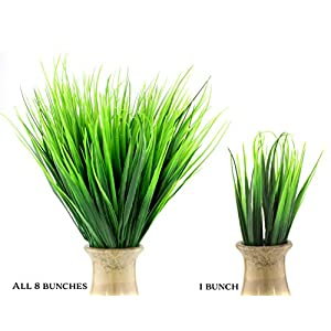 Plastic Wheatgrass (8 Bunches); Artificial Wheat Grass Greenery Shrubs Stalks Fake Decorating Shrubs for Indoor/Outdoor Imitation Plants 4