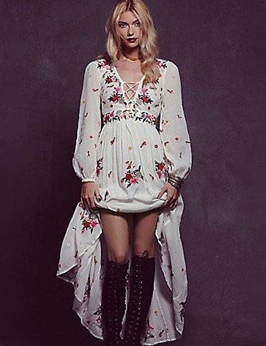 PU&PU Robe Aux femmes Swing Vacances / Plage , Fleur V Profond Maxi Coton , white-m , white-m