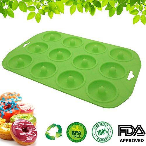 Bath Filler Pop (Cupidove Silicone Mini Donut Maker Baking Pan Tray - 12 Holes - Pure Food Grade Premium Non-Stick Silicon - Green - Bake Like a Professional)