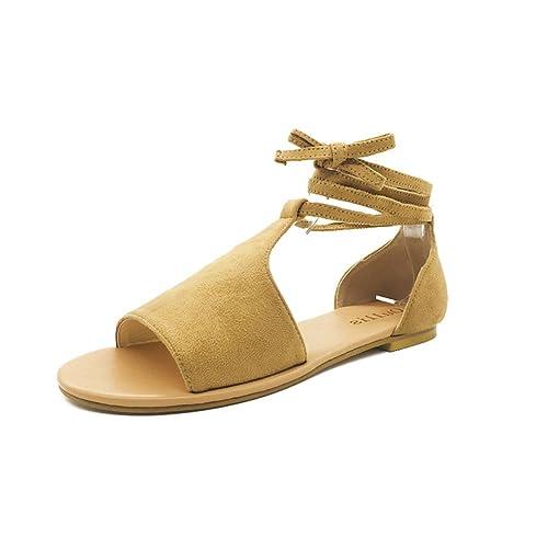 Minetom Sandalen Damen Schuhe Flip-Flops Böhmen Shoes Schuh Sommer Bequeme Frauen Übergröße Offene Strand Quaste Flache Badesandalette Braun EU 42 isxp9Cv