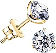 """STUNNING FLAME"" 18K Gold Plated Silver Brilliant Cut Simulated Diamond Cubic Zirconia Stu"