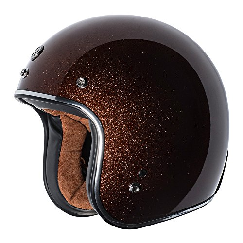 TORC Unisex-Adult Open-face Style (T50 Route 66) 3/4 Motorcycle Helmet with Solid Color (Rootbeer Mega Flake) (Root Beer, Medium)