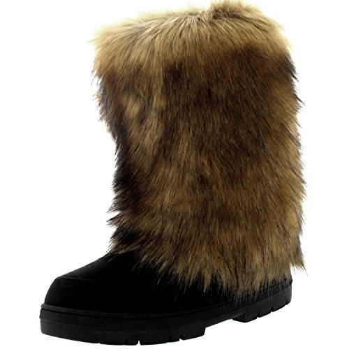 Image of Womens Tall Rabbit Fur Covered Snow Rain Waterproof Yeti Eskimo Winter Boots